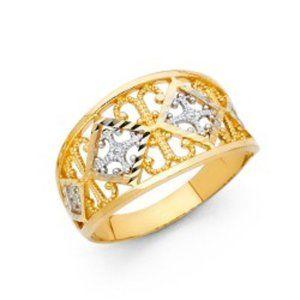 14K yellow gold white gold Fancy Ring wedding Band